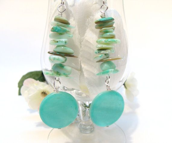 Teal Green MotherofPearl Chips and Disc Dangle by GirlieGals