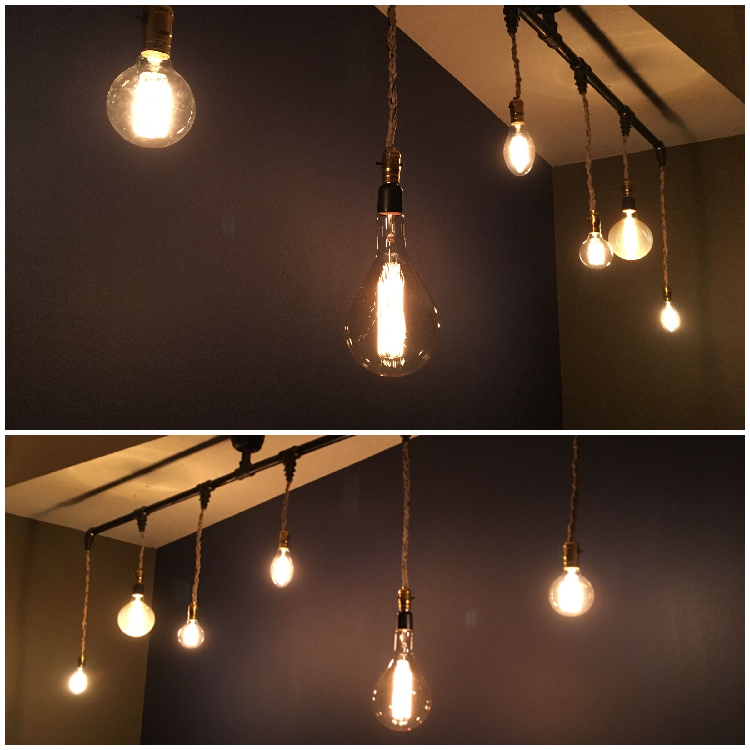 """Pendant Light Ceiling Fixture"""" Black Iron Pipe and Edison Bulbs A"""