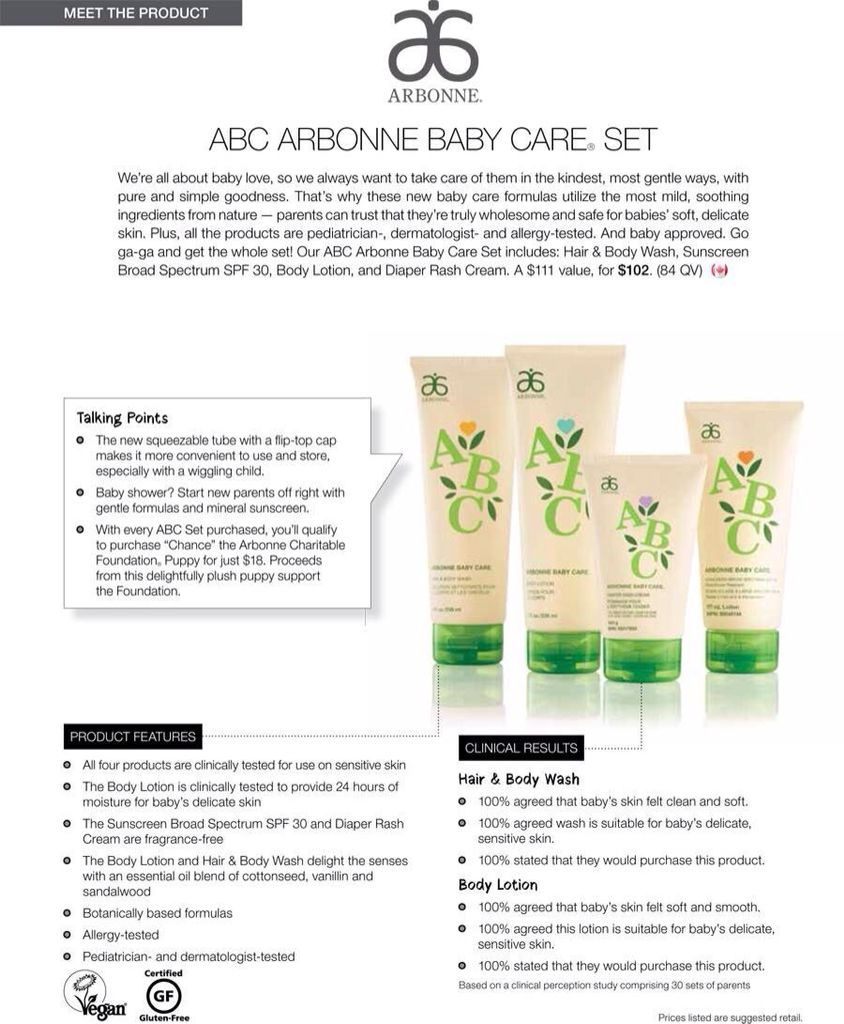 Abc Arbonne Baby Care Set For Sensitive Skin Great For