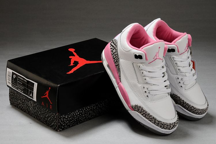 Women Air Jordan 3 High Quality White Cement Grey Pink Shoes - Click Image  to Close a63ccff81