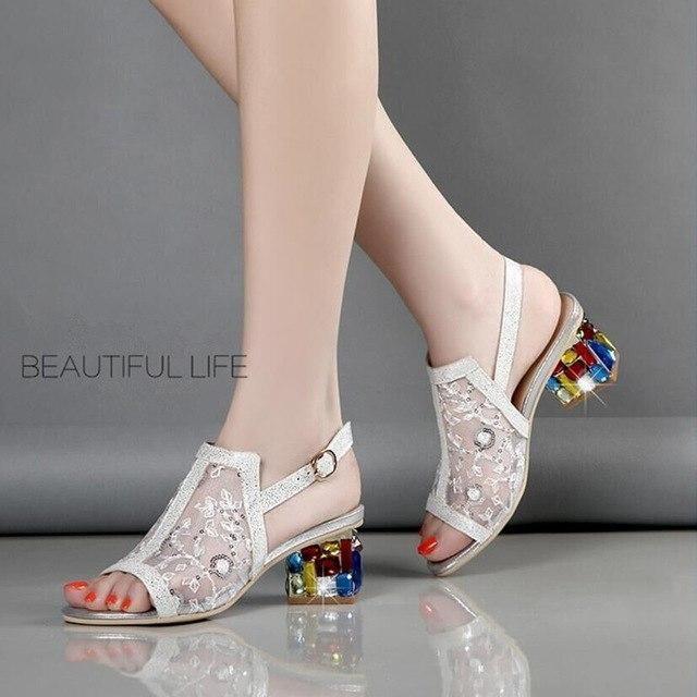 f72a696c2d85d7 Women Wedding Party Rhinestone Lace Square Heels Sandal Shoes Ladies  European Design High Heels Sexy Sandals
