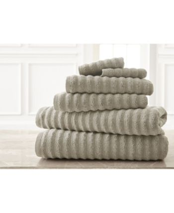 Wavy Luxury Spa Collection 6 Piece Quick Dry Towel Set Bedding In