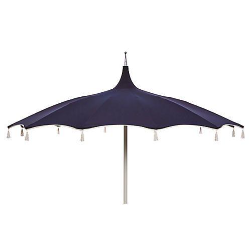 Rena Pagoda Tassel Patio Umbrella, Navy/White
