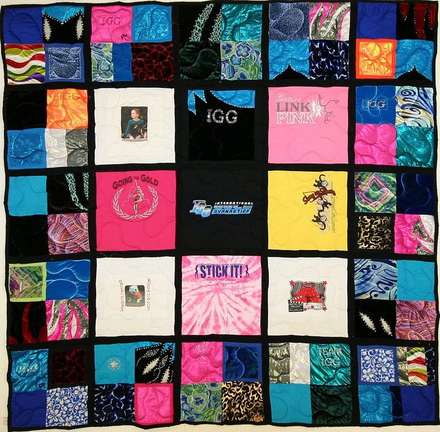 25 Square Gymnast S Memory T Shirt Quilt With Black Backing And Sashing Made Using Leotards Campus Quilt Memory Quilt Quilts
