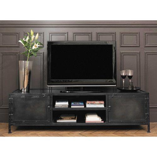 meuble tv indus en m tal noir pinterest meuble tv m tal noir et tv. Black Bedroom Furniture Sets. Home Design Ideas