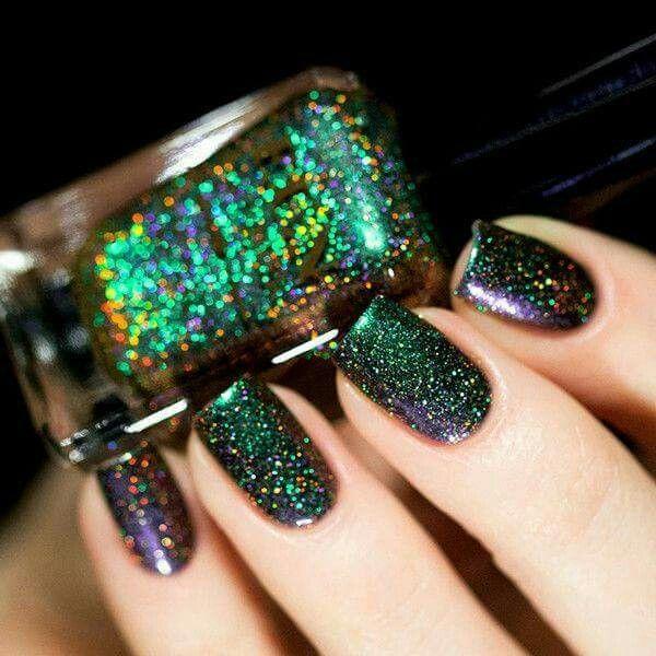 Uñas negro brillos | Uñas | Pinterest | Brillo, Negro y Diseños de uñas