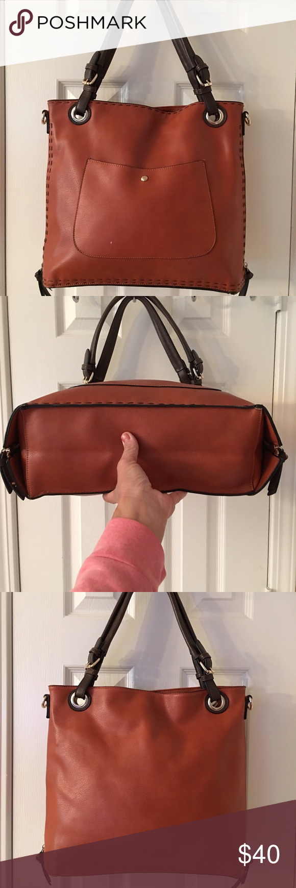🛍 Brown Large Fashion Shoulder Bag Silver hardware.  Side zippers for expansion.  Front snap pocket.  Main zip closure.  3 interior pockets (1 zips).  Key clip. Small mark on front of bag.  Measures: 16.75x5x13x8. Man made. Independent Designer Bags Shoulder Bags