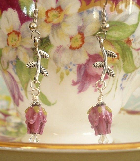 Lampwork Rosebud and Silver Branch Earrings  5 by LynnetteJewelry, $16.00