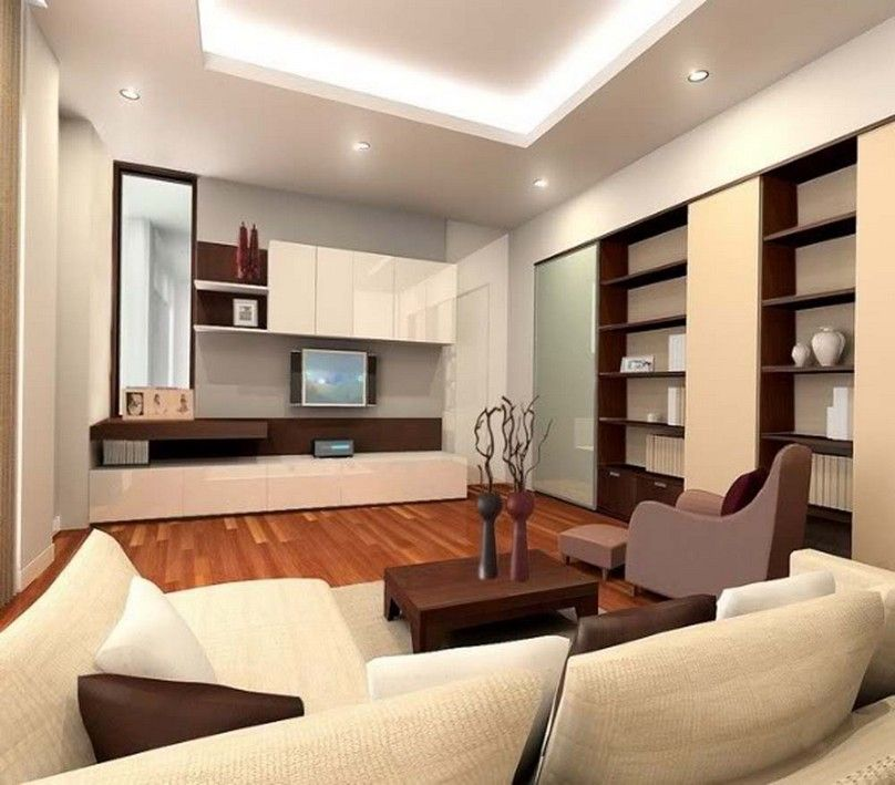 Modern Minimalist Living Room Design With Recessed Ceiling Light And Cove Lighting For