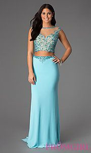 Buy Floor Length Two Piece Bead Embellished Dress at PromGirl