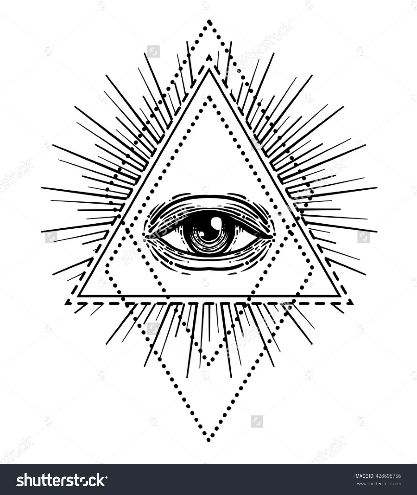 Blackwork tattoo flash. Eye of Providence. Masonic symbol ...
