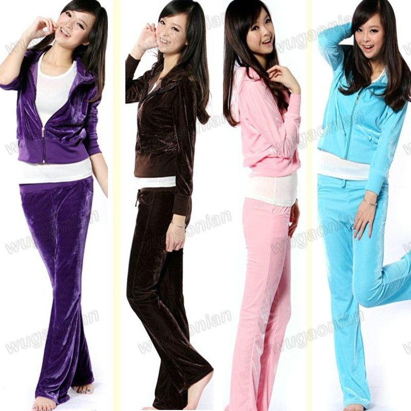 Women s Sport Cloth Set Trendy Velour Hoodies Suit  e508cac7fb23