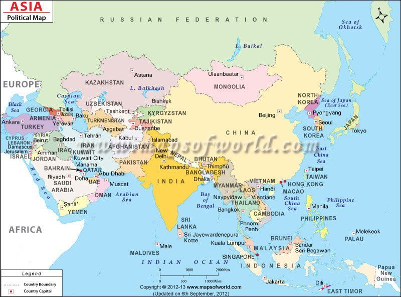 Asia Map depicting International boundaries of Asian countries ...