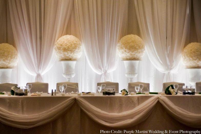 Head table backdrop drapery