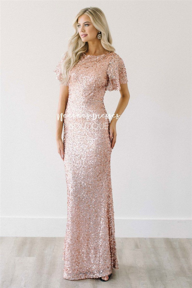 The Aurora Rose Gold Sequin Gown Modest Formal Dresses Prom Dresses Modest Neesees Dresses [ 1200 x 799 Pixel ]