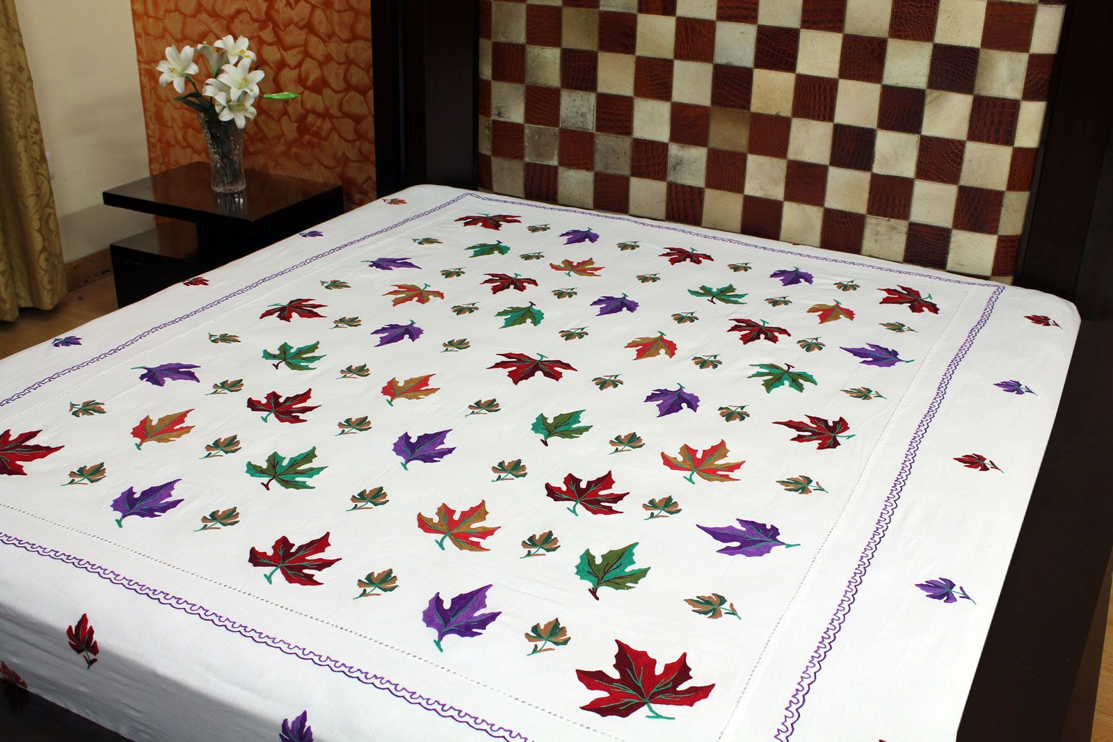 Ribbon Work Bed Sheets Designs - Work hand embroidery bed sheet designs l 76709dba3795dff2