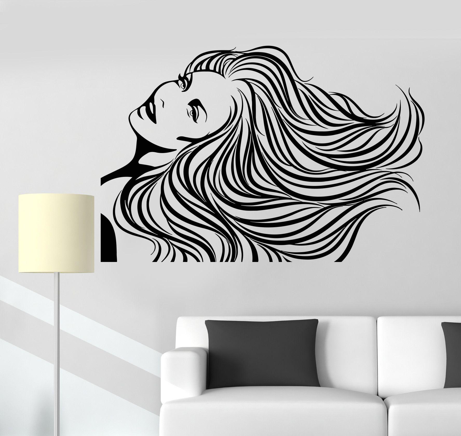 Vinyl Wall Decal Beauty Salon Long Hair Woman Spa Barbershop Stickers (ig2936)