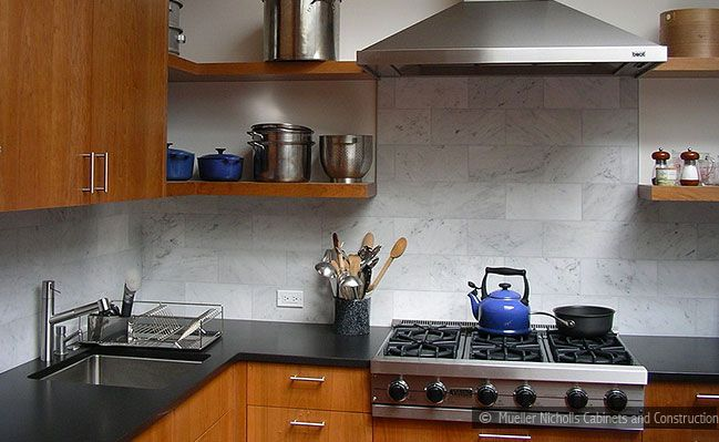 4x12 Carrara Marble Backsplash Tile Modern Brown Cabinet