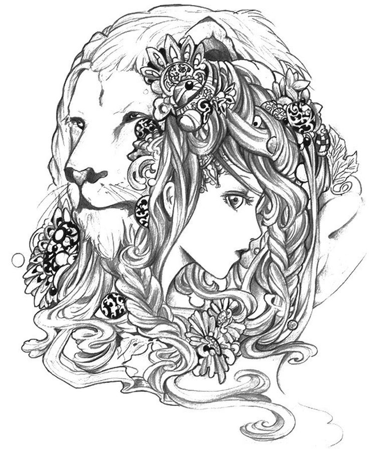 advanced abstract coloring pages of lion and girl for adults