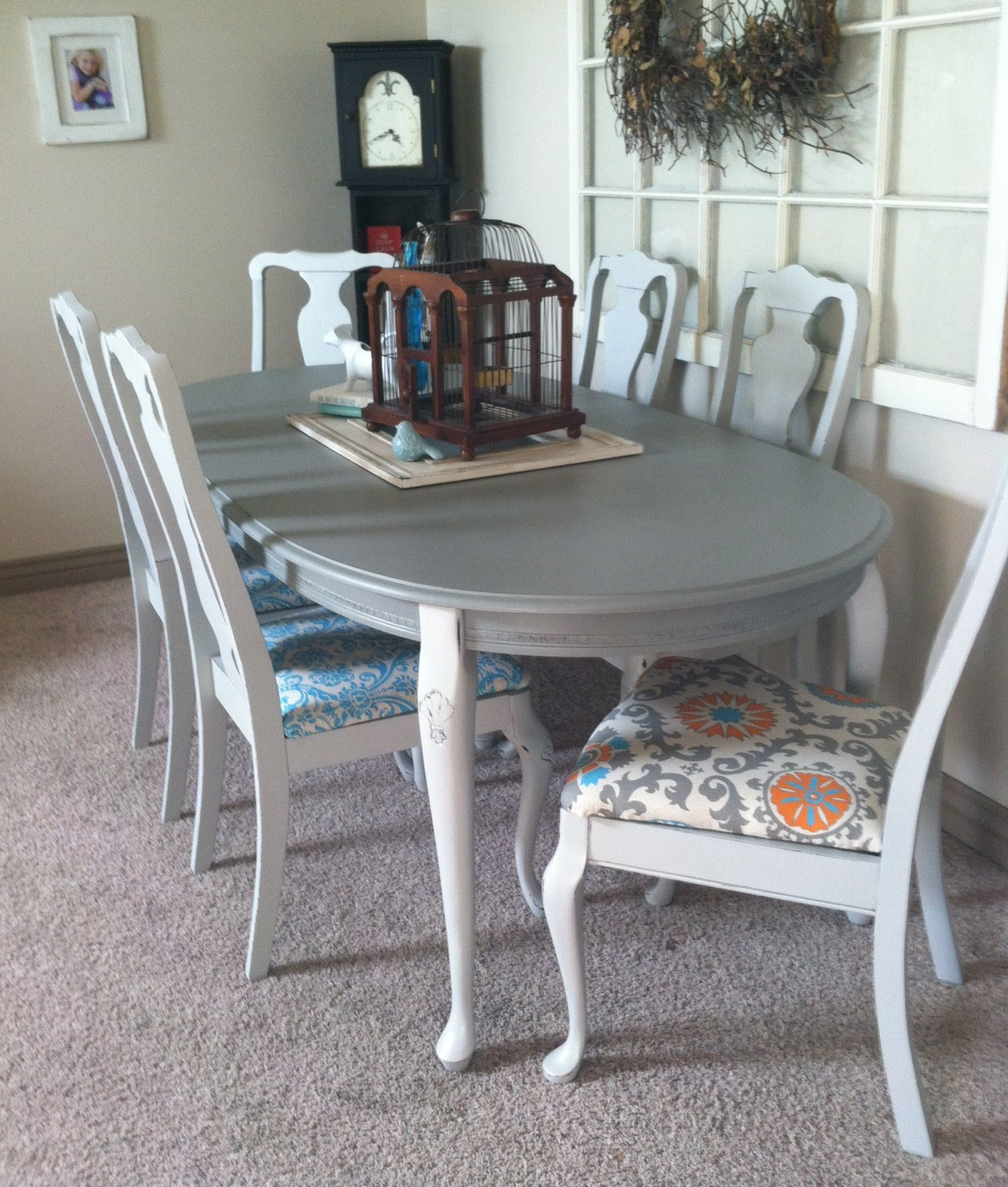 Dining Table Redo Greyabsolutely Love The Different Colored Amazing Dining Room Upholstered Chairs Design Inspiration