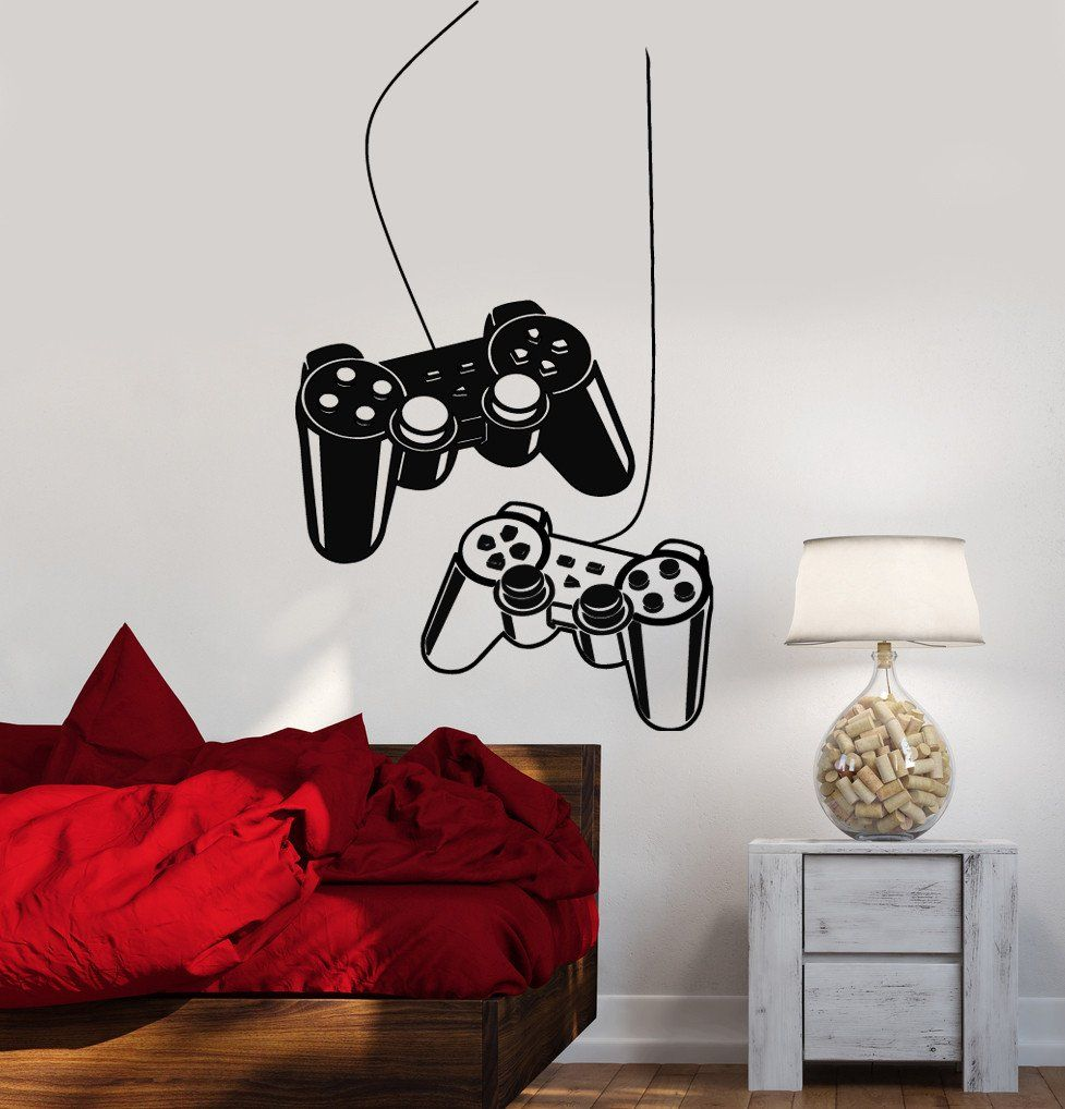 Joystick Wall Decal Gamer Video Game Play Room Kids Vinyl Stickers ...