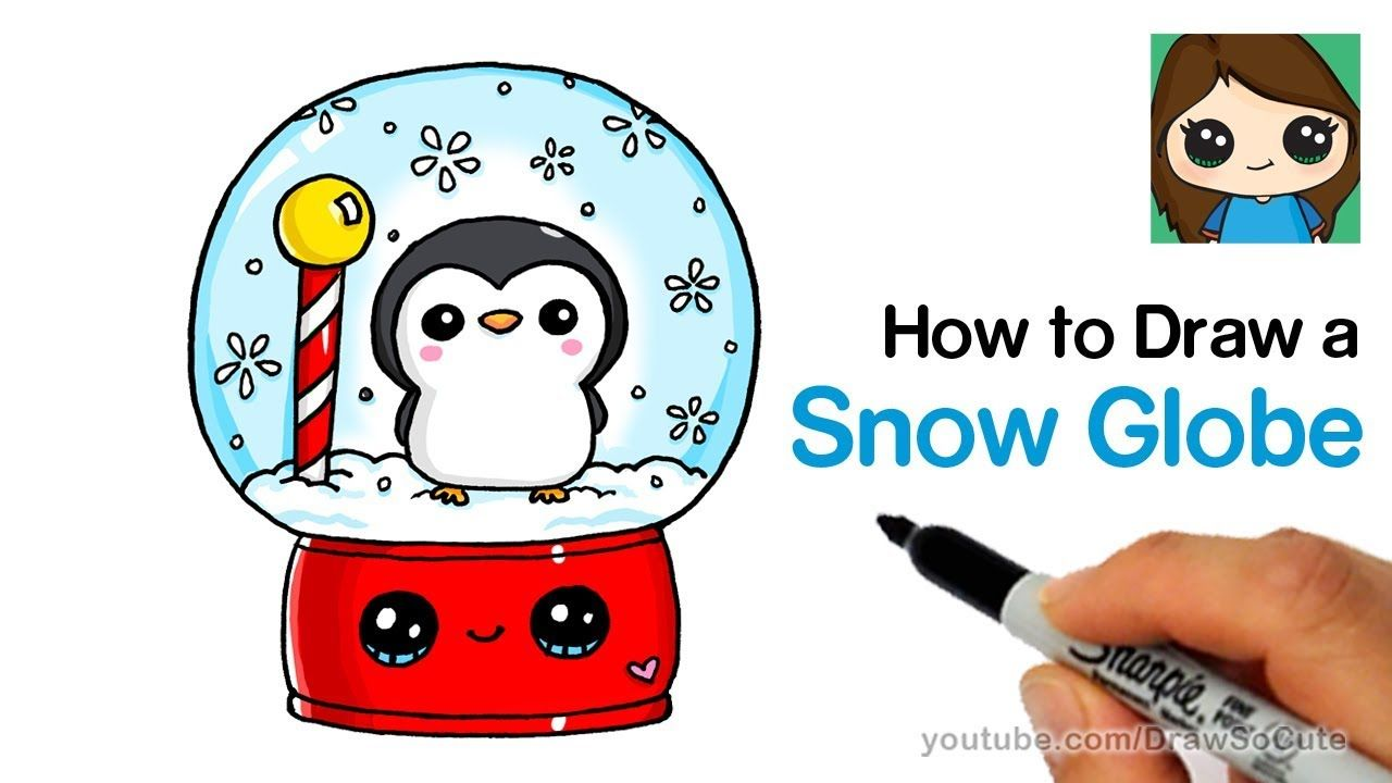 How To Draw A Snow Globe Easy With Cute Penguin Youtube Penguin Drawing Cute Drawings Globe Drawing