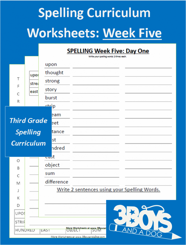Third Grade Spelling Curriculum Week Five Free Homeschool
