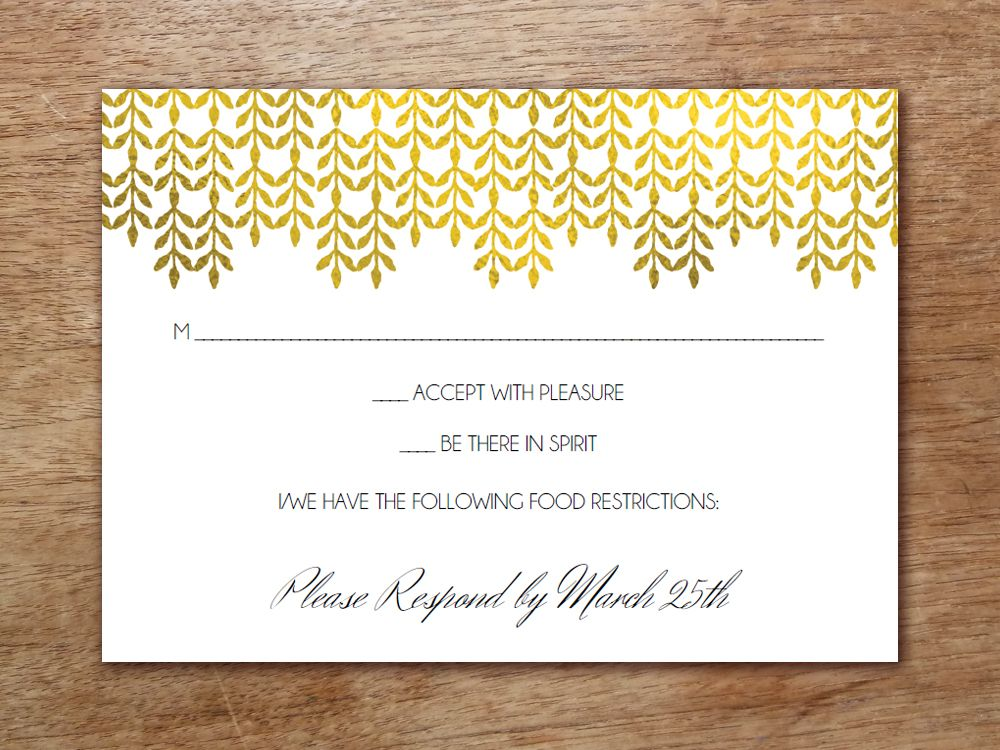 Printable Wedding Invitation Set - Glamorous Gold Rsvp wording - free rsvp card template