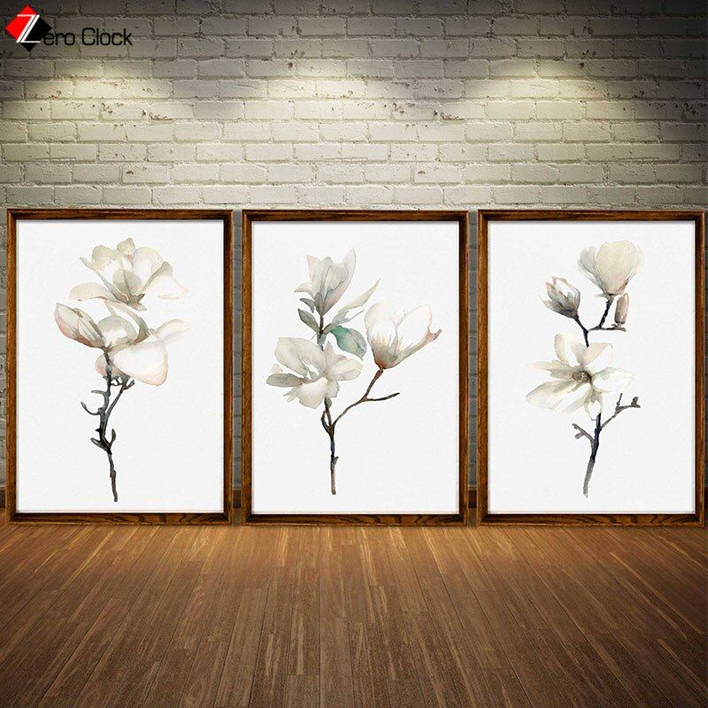 Magnolia Print Canvas Painting Minimalist Wall Art White Magnolia Flower Poster Gift For Women Floral Room Decor Unframed In 2020 Flower Wall Art Minimalist Wall Art Floral Room