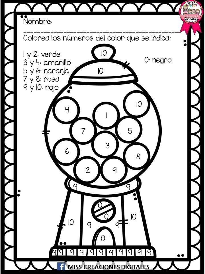 Colorea las letras y números para descubrir el dibujo   Material ...
