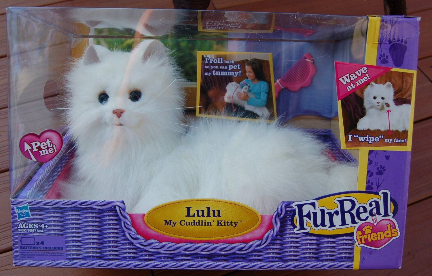 Furreal Friends Lulu My Cuddlin Kitty White Fluffy Cat Moves And Makes Realistic Cat Sounds In Response To Your Fur Real Friends Little Live Pets Kitten Toys