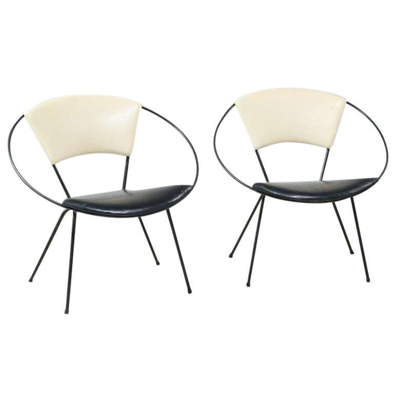 Etonnant Pair Of Black And White Circle Chairs For Reilly Wolff, 1952