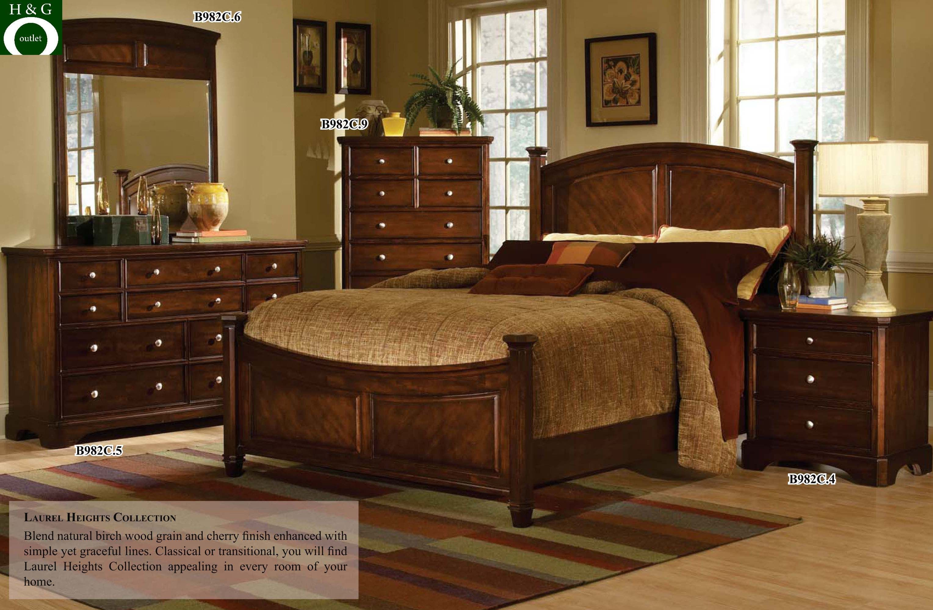 Cherry Wood Queen Bedroom Decoration Sets Sets  cherry