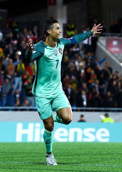 3758c7f6896 Cristiano Ronaldo of Portugal celebrates after scoring the opening goal  past the goalkeeper Josep Gomes of Andorraduring the FIFA 2018 World Cup  Qualifier ...