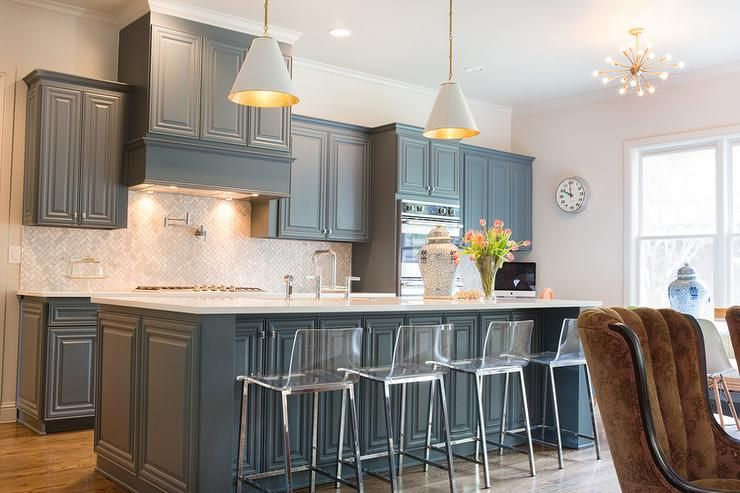 Lovely Kitchen Features Gray Blue Cabinets Paired With