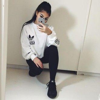 sweater sweatshirt adidas adidas sweater adidas sweats branded cute cute  top cute sweaters aesthetic tumblr tumblr