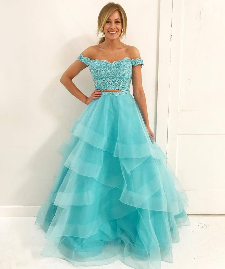 Two Piece Off the Shoulder Sweetheart Lace Organza Floor