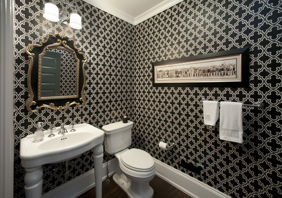Cute Powder Room Modern design ideas for Black And White Wallpaper