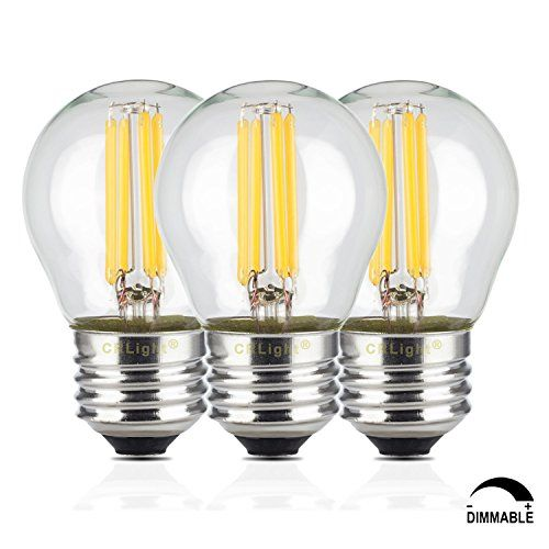 Crlight 4w Dimmable Edison Style Antique Led Filament Globe Light Bulb 3200k Soft White 400lm E26 Medium Base L Globe Light Bulbs Glass Candle Candelabra Bulbs