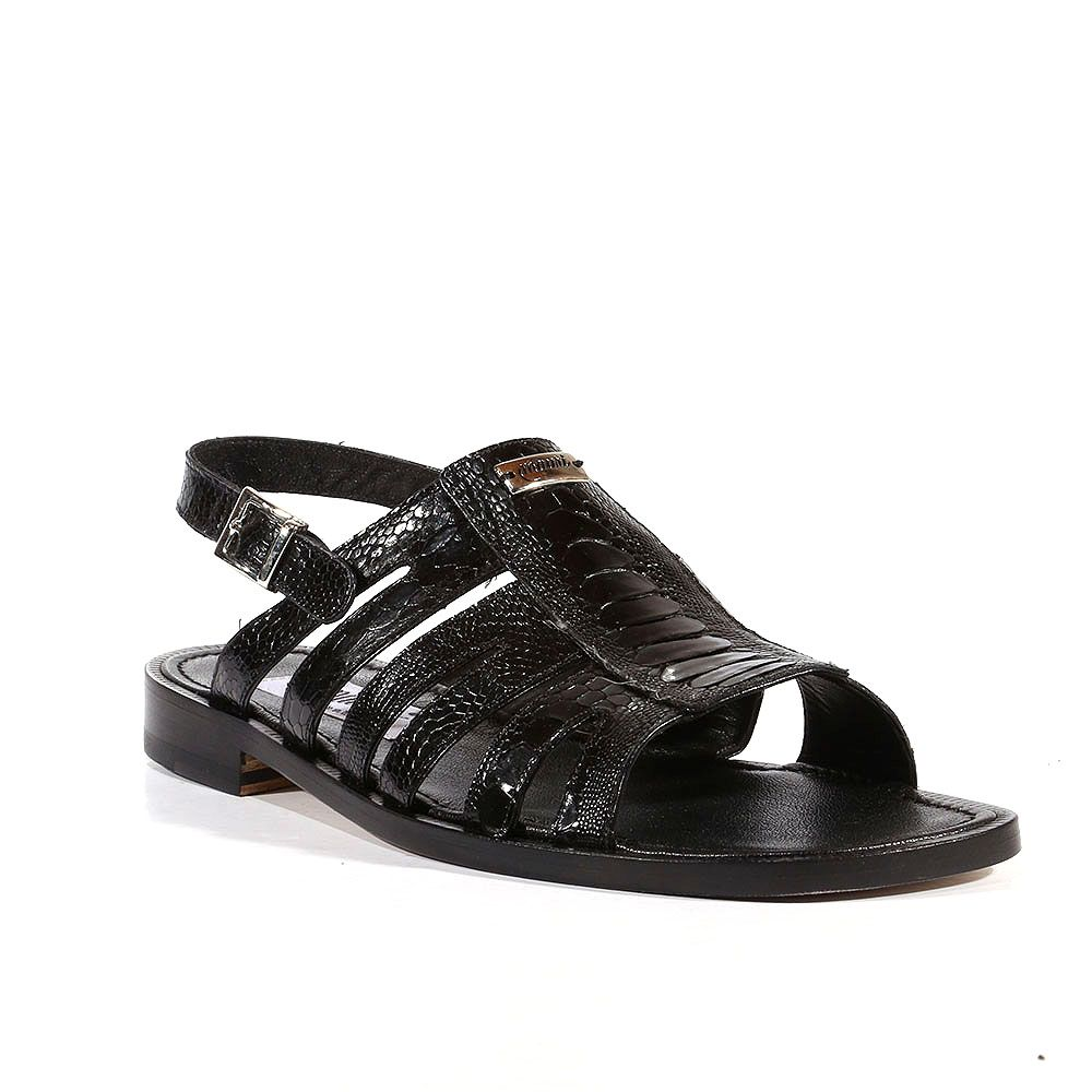 50b6cab1f862 Mauri Italian Mens Shoes Riviera Ostrich Leg Black Sandals (MA1303)  Material  Ostrich Hardware  Silver Color  Black Comes with original box and  dustbag.