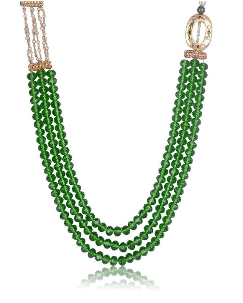3- strings green beads necklace