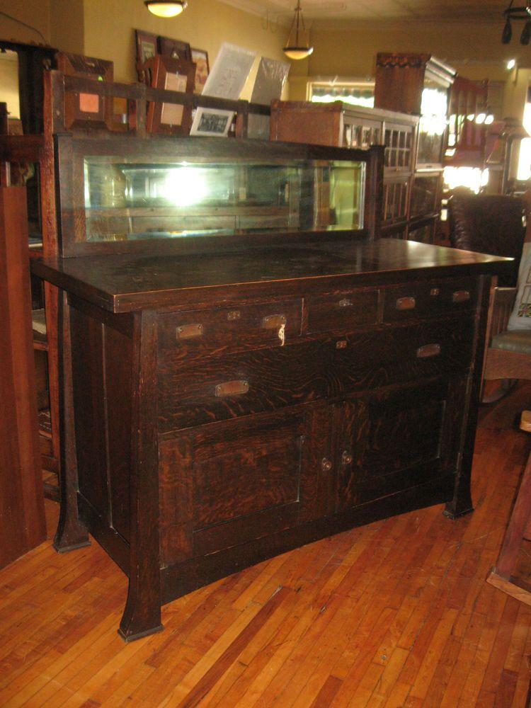 Antique Mission Oak Sideboard Buffet Arts U0026 Crafts Grand Rapids W/Mirror  1900u0027s