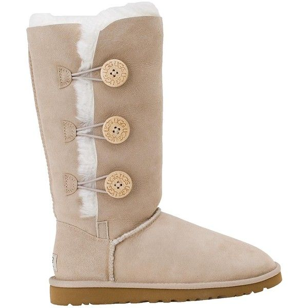 Ugg Australia Women S Bailey Button Triplet Boot Sand Suede 230 Liked On Polyvore Ugg Boots Womens Uggs Boots Outlets