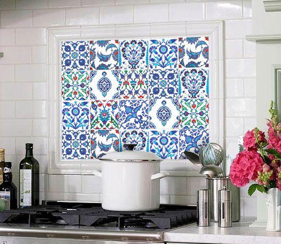 Stencil piastrelle cucina linea geometrico ue with for Stencil per piastrelle bagno