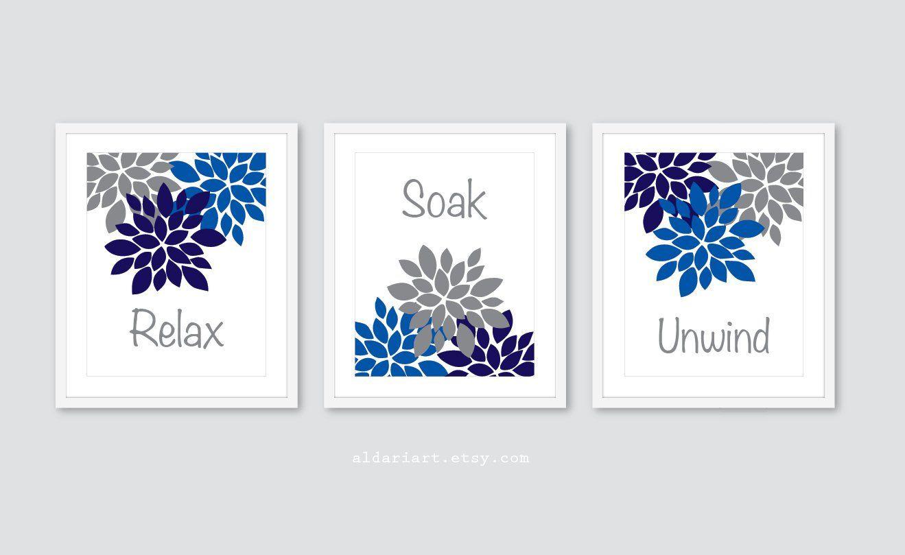 Bathroom Prints Bathroom Wall Art Relax Soak Unwind Prints Bathroom Decor Bathroom Artwork Damask Prints Bathroom Rules Set of 3