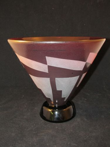 Amazing Large Hand Blown Correia Art Glass Bowl Vase Signed Numbered