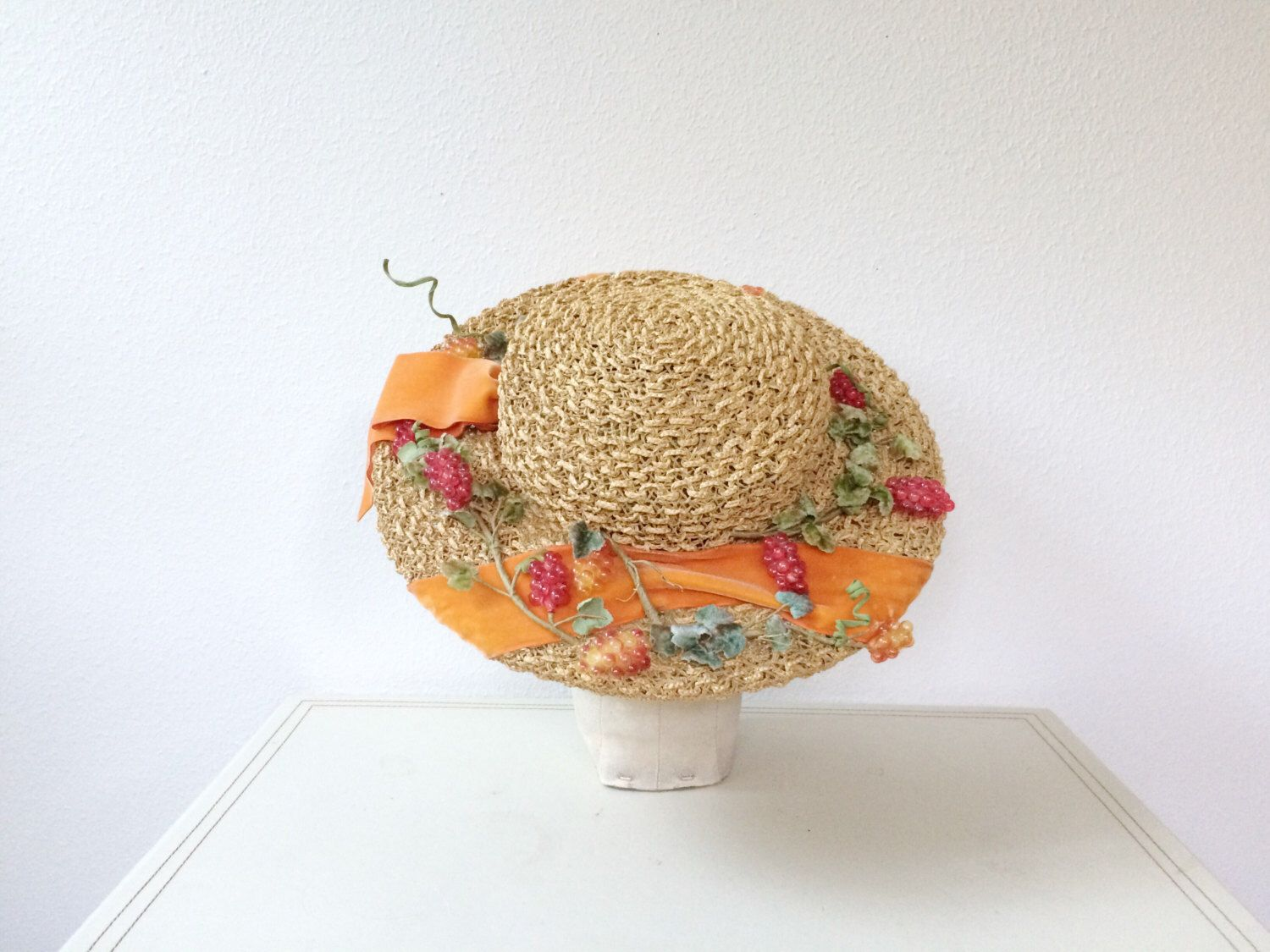 vintage straw hat / Mr. John hat / Grape Harvest hat by nocarnations on Etsy https://www.etsy.com/listing/470950316/vintage-straw-hat-mr-john-hat-grape