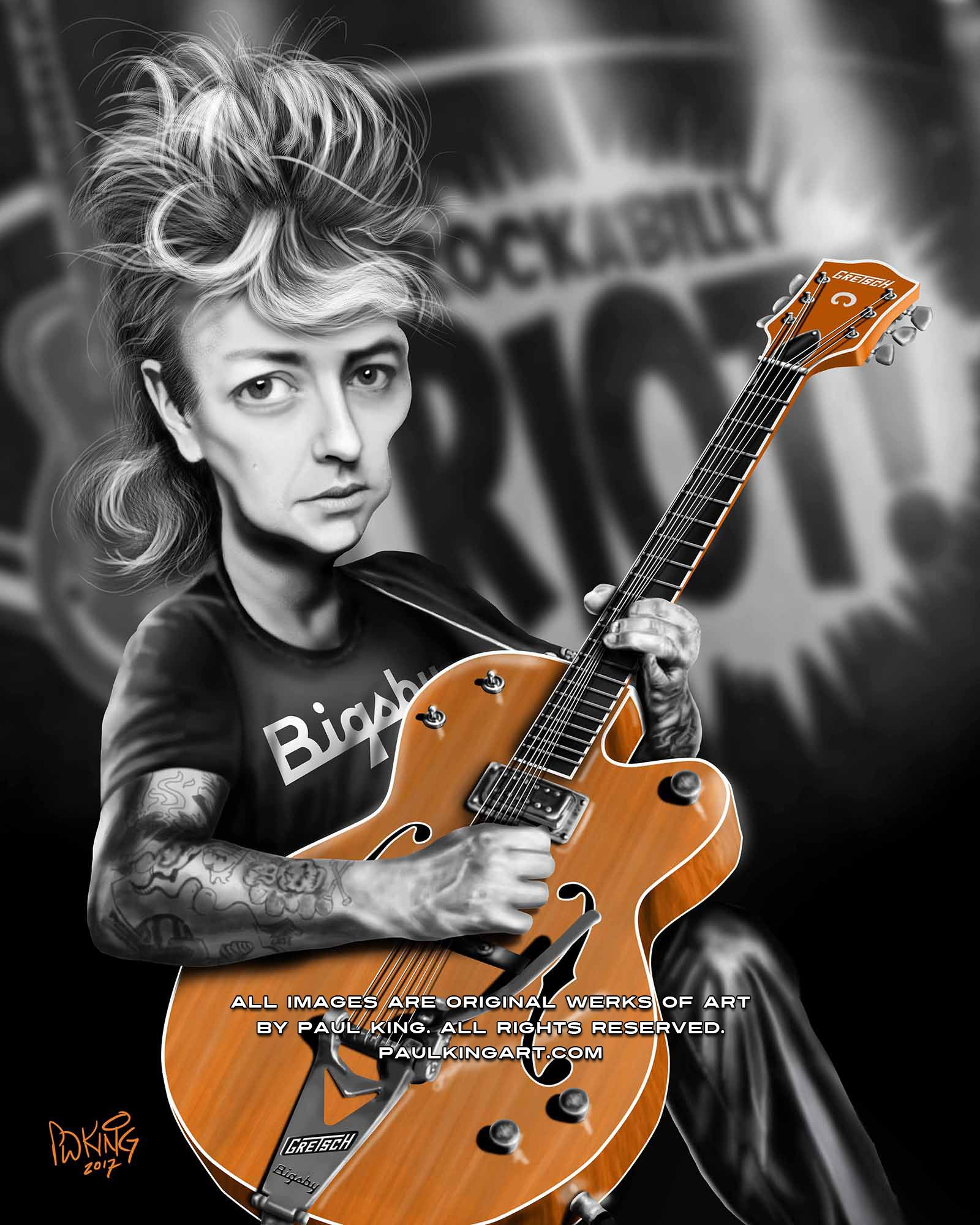 Brian Setzer Caricature, singer, songwriter and lead