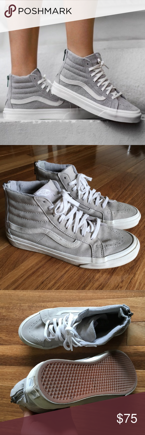 d412753961 Vans SK8-HI Slim Zip - Cool grey Vans hi-top Scotchgard with grey suede and  white detail. Zipper in the back Women s 8.5