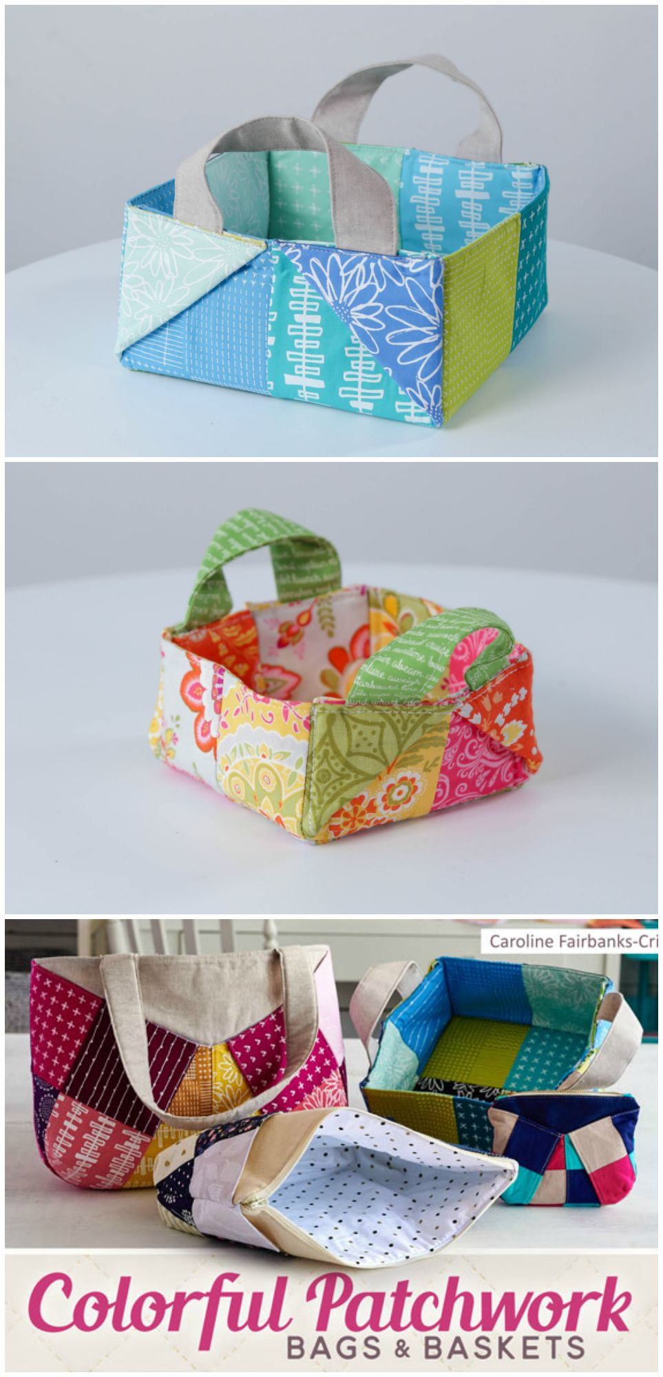 How to sew colorful patchwork bags and baskets. 3 different projects ...